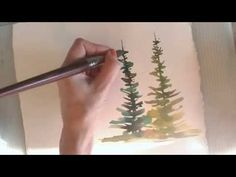 Painting Trees in Watercolor: Two Demonstrations. Shows a really nice clump of birch trees at end of second video...