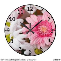 Gerberas And Chrysanthemums Large Clock