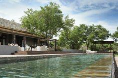 Pool overlooking the plains of Tanzania, at Singita Serengeti House.