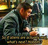 "[gif]  ""...what's next?  Hobbits?"" - Dean #Supernatural #ClapYourHandsIfYouBelieve"