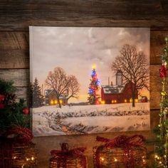 Christmas Barn LED Canvas Art Print   Kirkland's $40