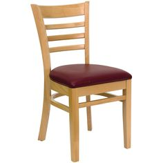 Spencer Wood Burgundy Upholstered Classic Dining Chairs