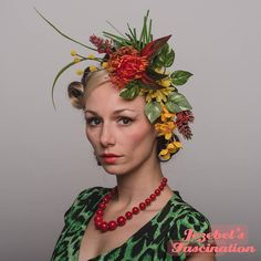 Bright Orange Tiki Tropic Fascinator Large Hair Flower Hukilau Hawaiian Jungle Headpiece Pin Up Rain Forest Garden Party Greenery Dapper Day Glitter Flowers, Leaf Flowers, Flowers In Hair, Floral Flowers, Floral Fascinators, Floral Headpiece, Jungle Costume, Black Fascinator, Tiki Party