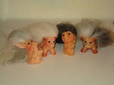 ♥ Vintage 60 Dam (Thomas Dam) Troll Dolls, Donkey, Horse, Elephant, Cow ♥