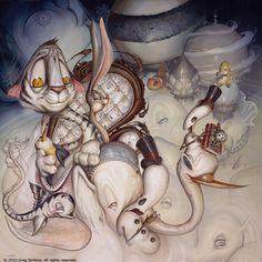 "Cartoon and graffiti art find its way into this comical yet spooky pop surrealism painting by Greg ""Craola"" Simkins « « Mayhem & Muse Graffiti Art, Surreal Artwork, Frog Art, Bizarre Art, Rabbit Art, Rabbit Hole, Surrealism Painting, Wine Art, Whimsical Art"