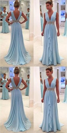 New Arrival Light Blue Chiffon Prom Dresses Deep V Neck Off The Shoulder Evening Gowns,High Low Long Prom Dress With Beaded Waist,Women Party Gowns - Ballkleid - Open Back Prom Dresses, High Low Prom Dresses, V Neck Prom Dresses, Long Prom Gowns, Beaded Prom Dress, Ball Dresses, Ball Gowns, Bridesmaid Dresses, Short Prom