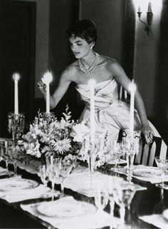 Jackie Kennedy preparing for a dinner party