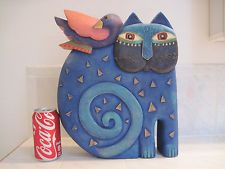 "LAUREL BURCH cat statue kindred spirits ceramic 1998 signed large 12"" x 14"""