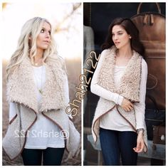 """New Faux Fur Vest coat jacket Open Front Trendy New shearling CONTRAST faux fur vest sleeveless coat jacket☄Color:Beige/Oatmeal/brown☄faux leather piping☄Soft,comfy☄Outer is trimmed faux fur and inner/front is longer fur like collar and inner/back is trimed fur☄Fabric  content:78% Acrylic+18% wool+4% Polyester☄Small(2-6) pit to pit=20""""☄Medium fits (6-10)pit to pit=21""""☄Large fits(10-14) pit to pit=22""""☄back length=24-23""""☄Side length=33-34"""" depends on sizeplease allow some color variation❌not a…"""