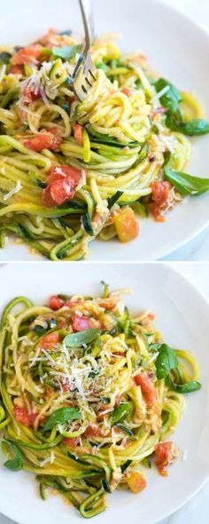 vegetable recipes How to make our zucchini pasta recipe with garlic, tomatoes, basil, and parmesan cheese. Cook Zucchini Noodles, Zucchini Pasta Recipes, Veggie Noodles, Garlic Recipes, Veggie Recipes, Cooking Recipes, Healthy Recipes, Dishes Recipes, Recipies