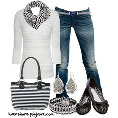 Black and White Striped by hvershure on Polyvore featuring Jane Norman, Replay, Knitted Dove, Rock Rebel, White House Black Market, Baccarat and Paul Klamut