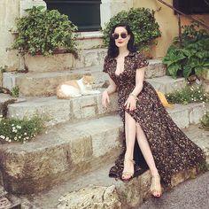 Magnificent Dita Von Teese wearing Ulyana Sergeenko dress and sunglasses in Mouginse, France #ulyanasergeenko #ditavonteese #france #mouginse #ульянасергеенко