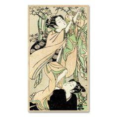 SOLD! - japanese vintage lady geisha portrait art business cards