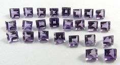 25 Pc Wholesale Lot Natural Amethyst 6x6mm Square Normal Cut  Loose Gemstone