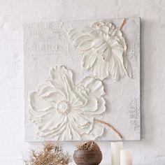 Fleurs en 3D avec image peinture acrylique sur toile
