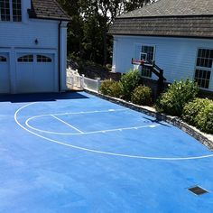 Half basketball court can add on concrete and paint in for Can i paint asphalt driveway