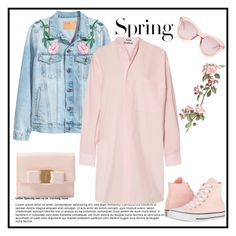 """Untitled #643"" by jovana-p-com ❤ liked on Polyvore featuring H&M, Salvatore Ferragamo, Karen Walker, Acne Studios and Converse"