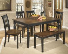 Amazon.com   Signature Design By Ashley Owingsville Black/Brown Rectangular Dining  Room Table