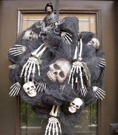 Scary Halloween Wreath Skull and Bones Halloween by LuxeWreaths, $159.00