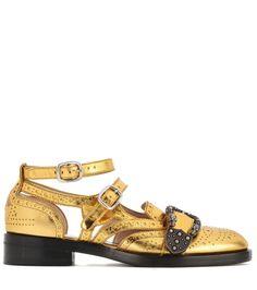 Golden embellished leather sandals