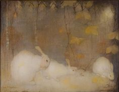 "Jan Mankes, ""Witte konijnen in herfstbos,"" 1911 white rabbits Lapin Art, Year Of The Rabbit, White Rabbits, Rabbit Art, Rabbit Hole, Bunny Art, Dutch Painters, Dutch Artists, Animal Paintings"