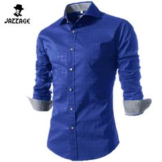 Camisa Masculina Slim Fashion Men Shirt 2016 New Brand Casual Long-Sleeved Chemise Homme Plaid Male Large Size XXXXL VSKAA