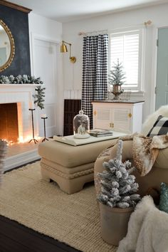 Holiday Housewalk Cottage Christmas Home Tour. Keeping it simple and stress free this year, with cozy pillows, throws and and easy to decorate around black & white color scheme that'll last long past Christmas. Flocked trees evoke thoughts of Winter snow and add to the toasty feel of being tucked safely indoors!