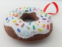 Glazed Chocolate Donut with Rainbow Sprinkles Felt Christmas Ornament by DanielleLondon