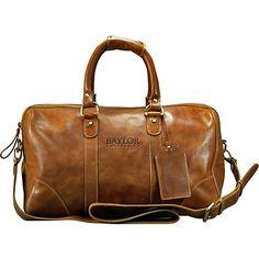 Genuine leather Baylor University travel duffel bag