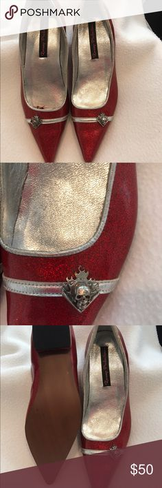 Red metallic rockabilly shoes Revamp productions,shiny red metallic rockabilly shoes with flaming skully emblem. NWOT revamp productions Shoes Flats & Loafers
