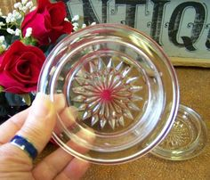 Set of Two Vintage Pressed Glass Coasters Barware by tithriftstore