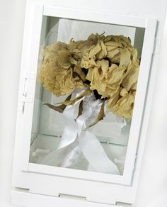 wedding bouquet display case - using a football display case ...