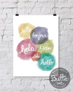 Hello in 6 Languages 8x10 Printable Modern Art Print, Hello Bonjour Hola Ciao Modern Art Printable by ButterflyBettie on Etsy