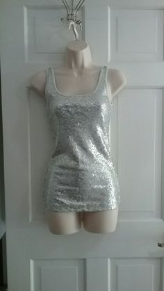 c4aee1f2e6e Light Gray and Silver Sequence Tank Top