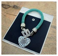Blue Bracelet w/ Silver Heart - Charm Bracelets, Bohemian Bracelet, Romantic Boho Bracelet - For Women