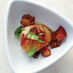 Scallops with pancetta jam. Bacon makes everything better! In this case, Italian-style pancetta takes it to the next level.