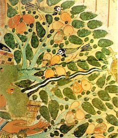 """Egyptian Painting: """"Sycamore Tree"""" detail. Tomb of Usehet, Thebes. About 1298-1235 B.C."""