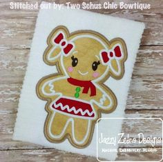 Gingerbread Girl 51 Applique Design: Jazzy Zebra Designs