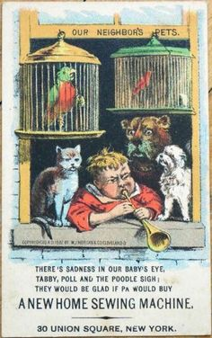 Victorian Trade Card Trumpet Cat Parrot Dog Music New Home Sewing Machine Co | eBay