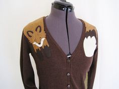 Wrapped Fox Cardigan in Chocolate Brown by dandyrions on Etsy, $55.00