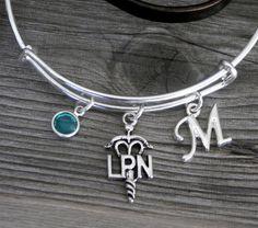 LPN Bracelet, LPN Bangle, Personalized LPN Bracelet, Licensed Practical Nurse Gifts, lpn graduation gifts, lpn gifts, Letter Birthstone