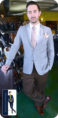 Meet Ben, our newest FLIP Ambassador! Ben came to us to his best for his summer wedding and he found this fantastic outfit featuring this cool Hickey Freeman linen blazer, Zanella slacks, Kiton tie, Ferragamo double monks and FLIP pocket square! Congrats and thanks Ben; you look perfect for your big day!