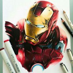 Repost from @art_motive - Ironman! Mixed media drawing by @stephenward_art _____