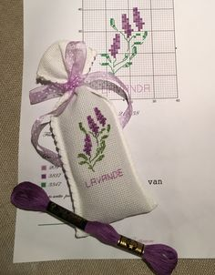 Cross Stitch Letters, Cross Stitch Cards, Cross Stitch Flowers, Cross Stitching, Cross Stitch Embroidery, Embroidery Patterns, Stitch Patterns, Lavender Crafts, Lavender Bags