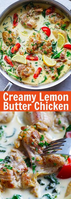 Lemon Butter Chicken – juicy and moist pan-fried chicken in a super creamy, lemony and cheesy white sauce, with spinach and tomatoes | rasamalaysia.com