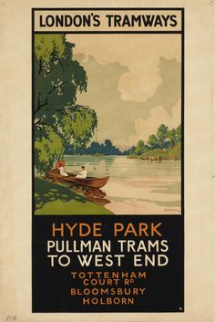 Giclee Print: Hyde Park, Pullman Trams to West End, London County Council (LC) Tramways Poster, 1930 by Rene Blair : London Transport Museum, Public Transport, British Travel, Travel Ad, London Poster, London Art, Railway Posters, Cool Posters, Art Posters