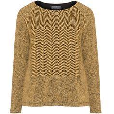 Karin Paul Curcuma / Black Plus Size Multi-pattern jumper ($74) ❤ liked on Polyvore featuring tops, sweaters, curcuma, plus size, holiday sweaters, plus size tops, plus size evening tops, long sleeve jumper and women's plus size sweaters