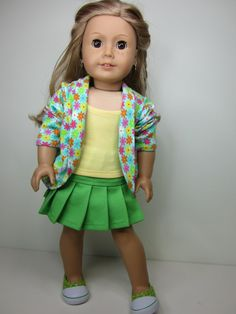 American girl doll clothes 3pc bright green by JazzyDollDuds, $24.00