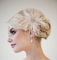 Bridal Fascinator Blush Pink Feather by PowderBlueBijoux on Etsy, $69.00