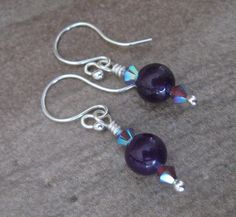 Amethyst and Swarovski Crystal Earrings - 2-318 by PurpleRavenBoutique on Etsy